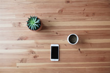 iPhone, coffee cup, and succulent plant