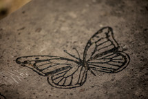 stamped butterfly on concrete