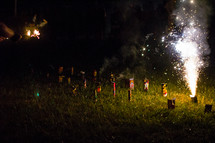 showering fireworks