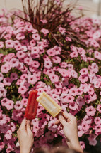 hands holding up popsicles in front of flowers