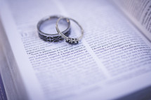 rings on the pages of a Bible