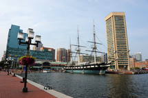 ship docked in the Baltimore harbor