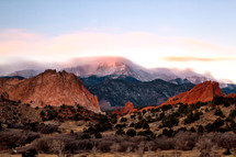 Pikes Peak and garden of the Gods at sunrise