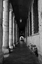 columns along a long hallway