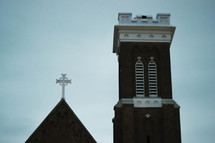 brick church steeple and roof