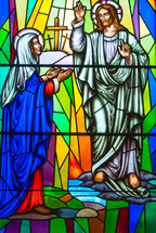 He is Risen - stained glass window - Jesus appears to Mary
