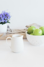 apples, fruit, bowl, house plant, pitcher, tray, linen, wood, cauldron