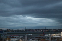 airport under a cloudy sky