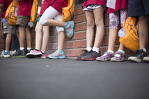 children waiting in a line