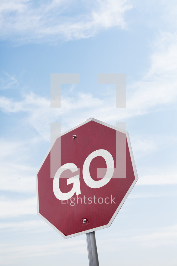 """""""Go"""" on a stop sign."""