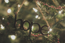 A hope ornament on the Christmas tree