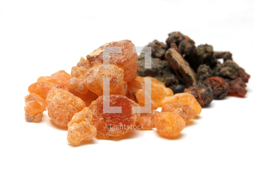 Frankincense resin (in front) and Myrrh resin (in back)