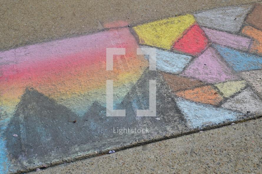 slide show of sidewalk chalk art