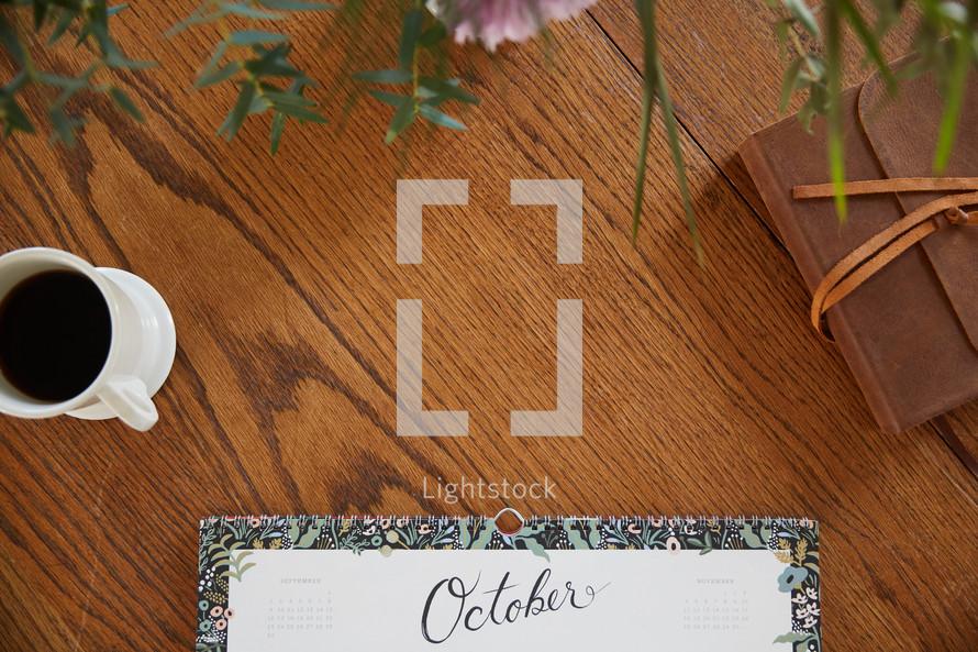 October calendar on a desk