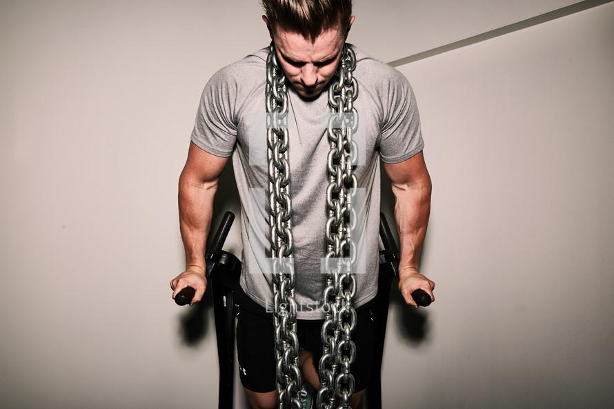 a man strength training