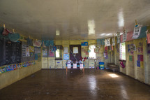 empty classroom in a tropical school house