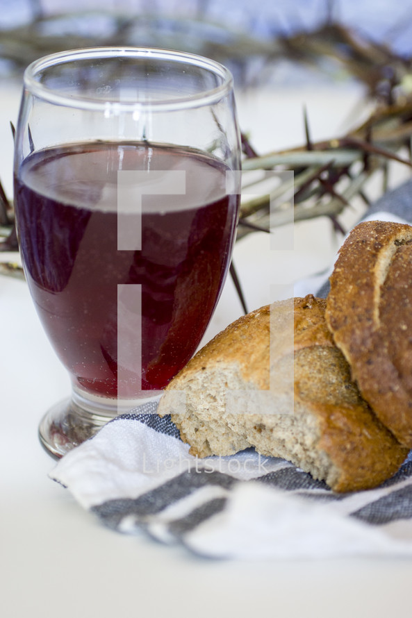 wine, Bread, and crown of thorns