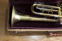a trumpet inside case