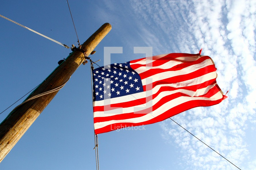 America Flag on a mast