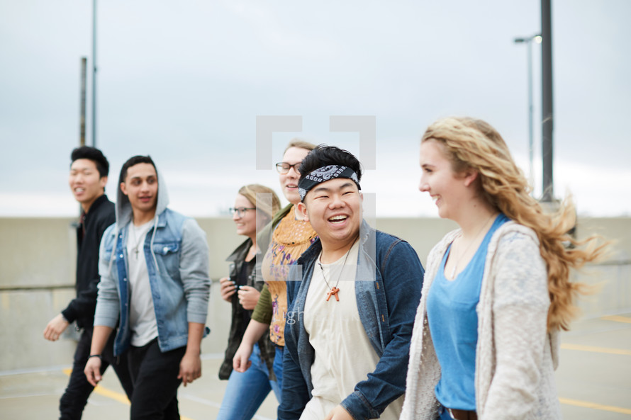 group of teens walking together