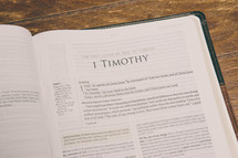 Bible opened to 1 Timothy