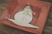 A snowman plate