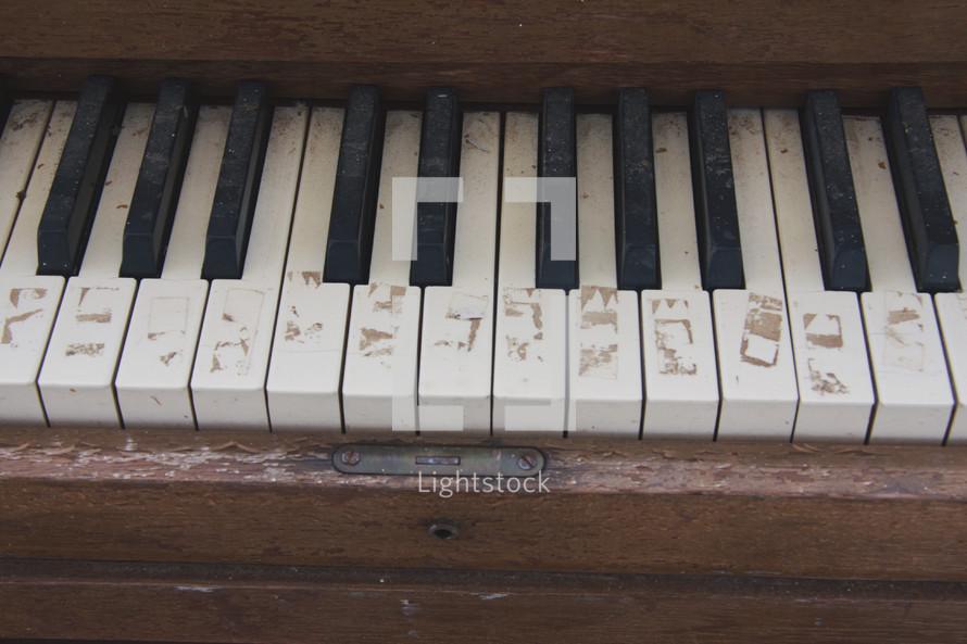 old piano keys