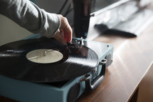 a recording player playing a record