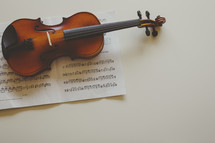 a violin on sheet music
