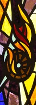 flame stained glass window