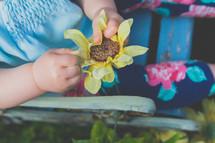 a toddler girl holding a flower