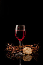 bread and wine and a crown of thorns