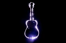 guitar image in lights