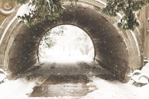 snow and tunnel