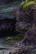 jagged rocks along a cliff