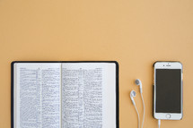 pages, Bible, podcast, iPhones, earbuds, iPod, listening