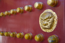decorative gold ornamental pieces on a red door in China