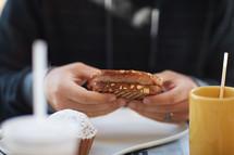 a man eating breakfast