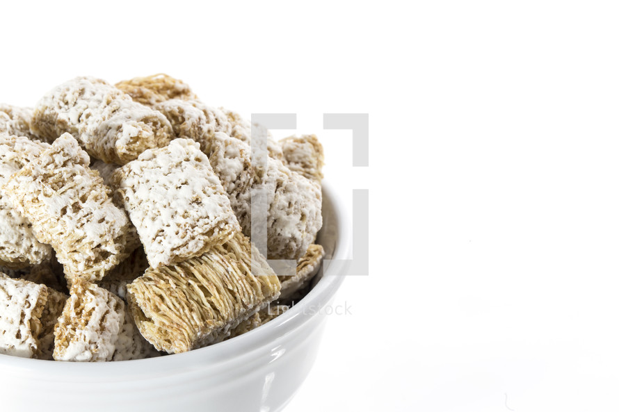 White Bowl of Frosted Wheat Cereal