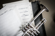 trumpet on sheet music
