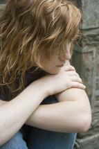 sad and angry teen girl
