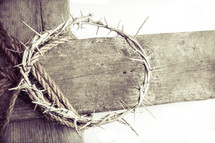 crown of thorns on a wooden cross