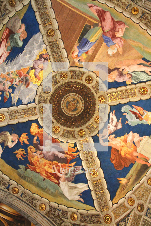 The ceiling of a room in the Vatican Museum, painted by Raphael