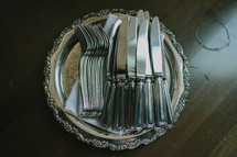 silverware on a tray