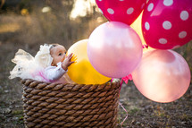 toddler girl in a tutu in a basket with balloons