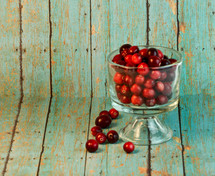 cranberries in a glass bowl