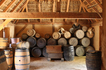 old barrels in a wine cellar