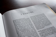 a Bible opened to 2 Samuel