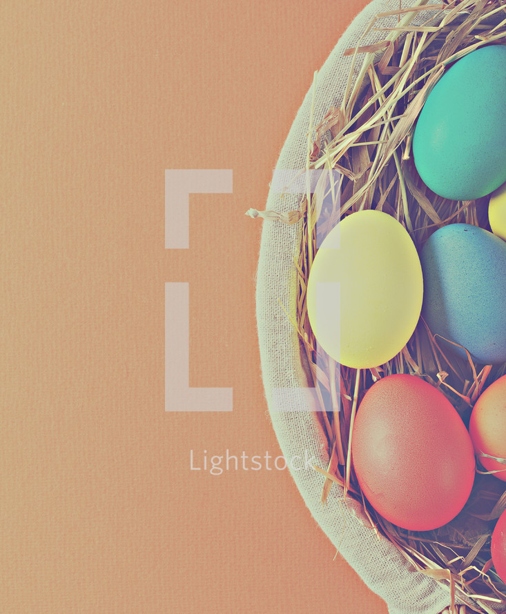Easter eggs in an Easter basket