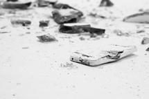 broken computer screen and cellphone